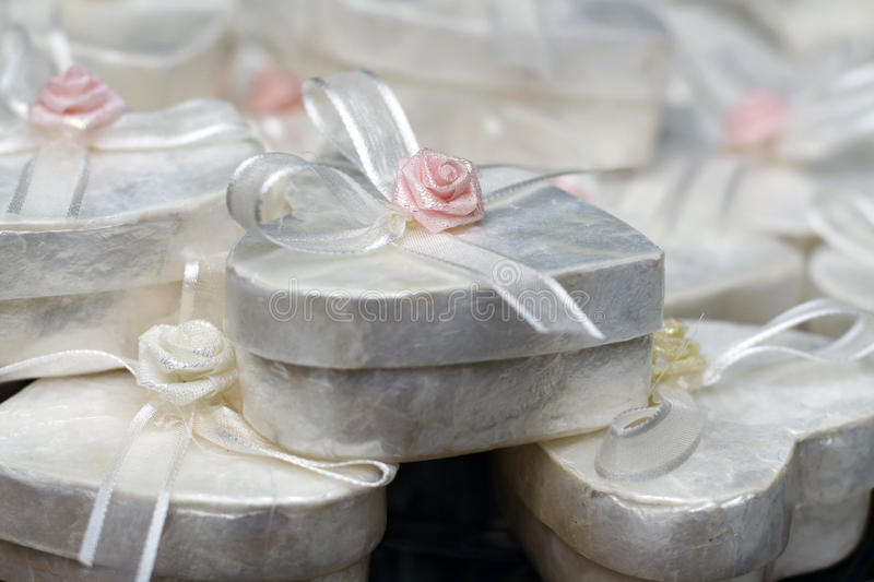 Download Small white present boxes stock photo. Image of ribbon - 19403974