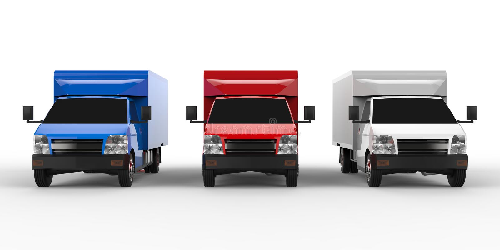 Small white, red, blue truck. Car delivery service. Delivery of goods and products to retail outlets. 3d rendering. stock illustration