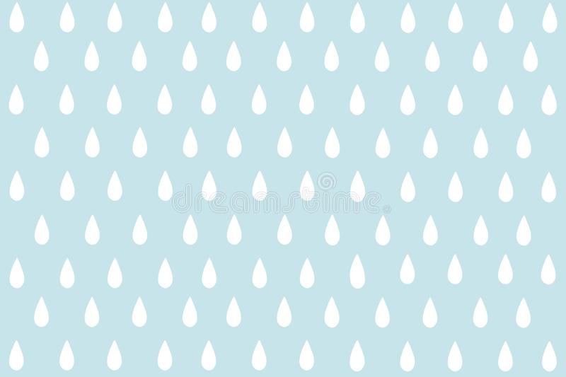 Small white water drop or Raindrop with cyan pastel pattern background. Abstract seamless minimalism. Paint cartoon style royalty free illustration