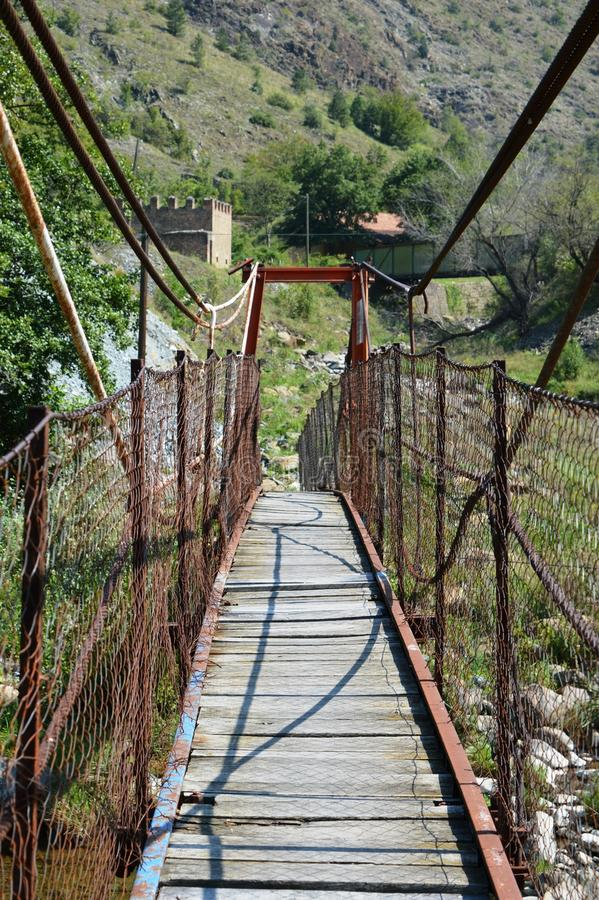 Small wire bridge stock image