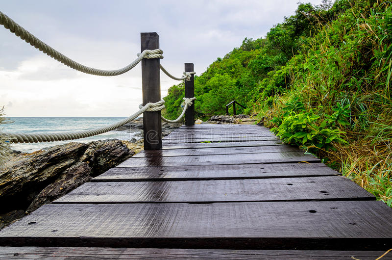 Small wood bridge near the seaside. Thailand stock image