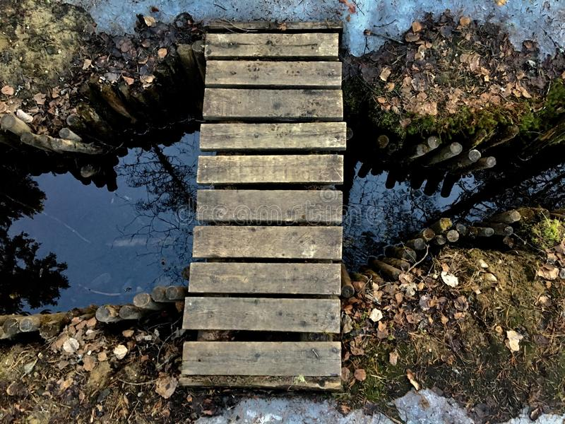 Small wood bridge over steam after winter close up view. Small wood bridge over steam after winter in local forest royalty free stock image
