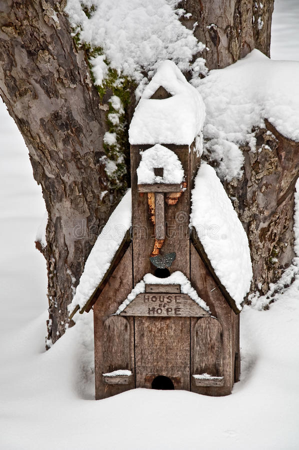 Small Wood Church House of Hope in Snow stock image