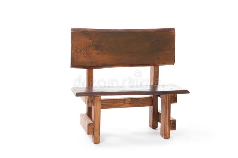 A Small Wooden Bench On A White Background Stock Photo