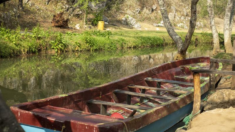 Boat for turists tour at Arcotete Park, Chiapas, Mexico royalty free stock photography