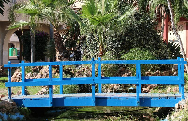 Small wooden bridge stock image