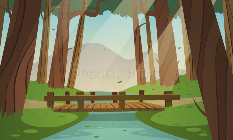 Small wooden bridge in the woods royalty free illustration