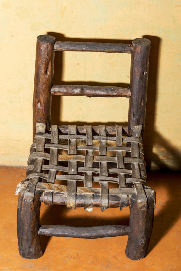 Download Small Wooden Chair With Leather Seat Stock Image   Image Of  Colors, Concrete: