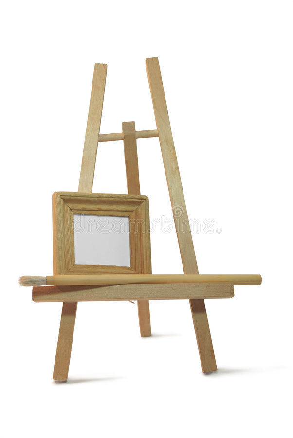 Download Small Wooden Empty Frame On Easel Stock Photo - Image: 7534690