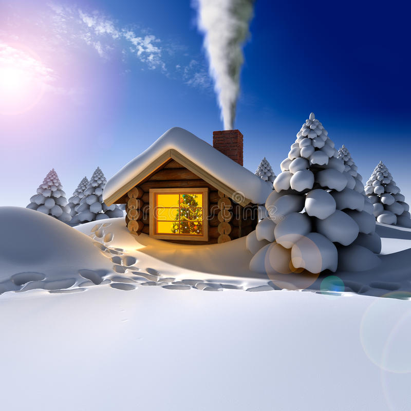 A small wooden house in a fantastic. A small cottage in the fairy forest in snowy New Year's Eve. Around the hut on the snow trails royalty free illustration