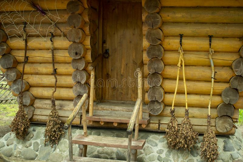 A small wooden house in the forest.  royalty free stock images