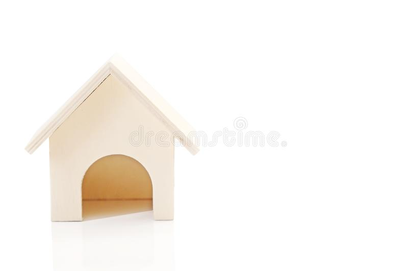 Small wooden house on white background. A view Small wooden house on white background royalty free stock photography