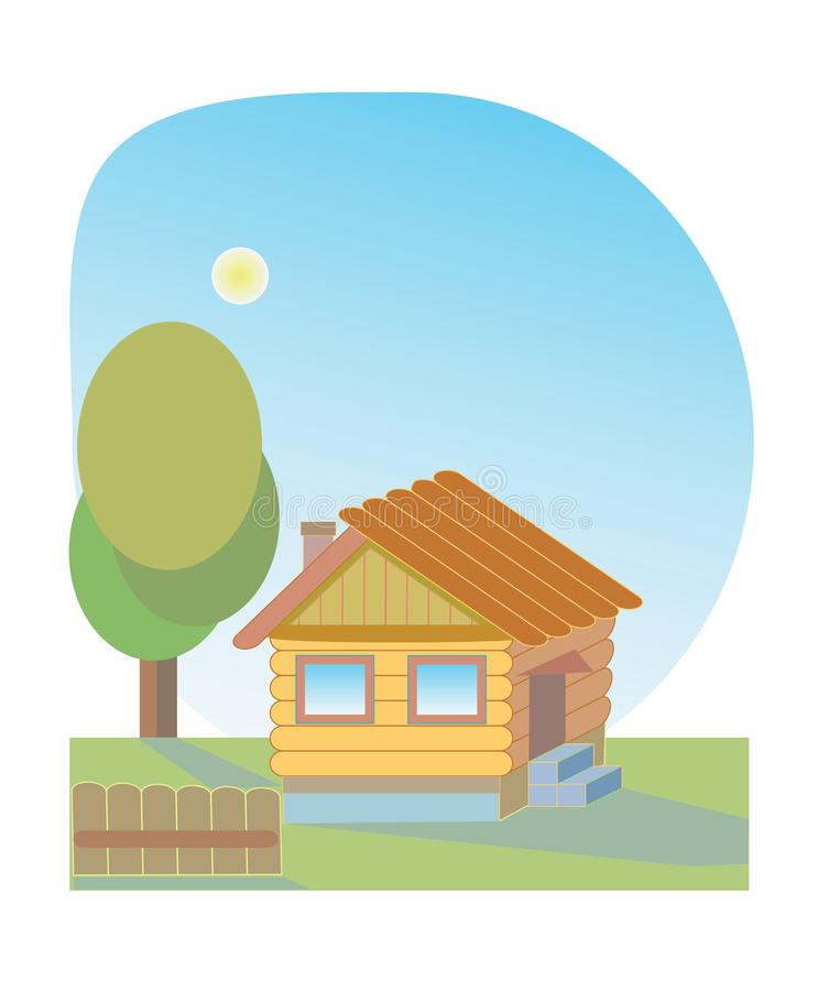 Small wooden house and yard around royalty free stock photo