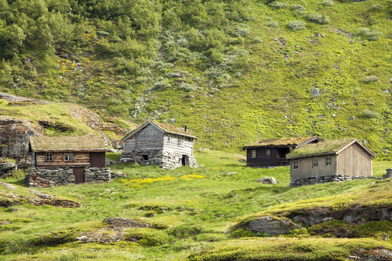 Small wooden houses in the Norwegian mountains royalty free stock images