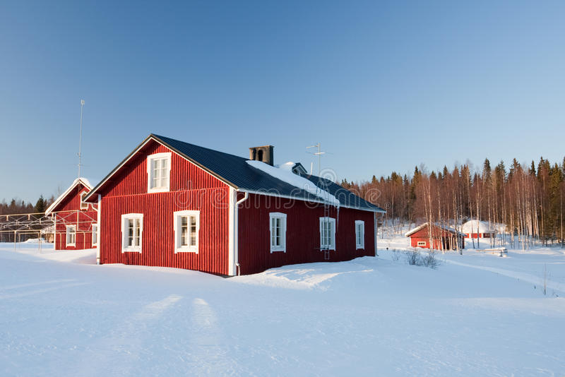 Download Small Wooden Houses In Winter. Stock Image - Image: 14250255