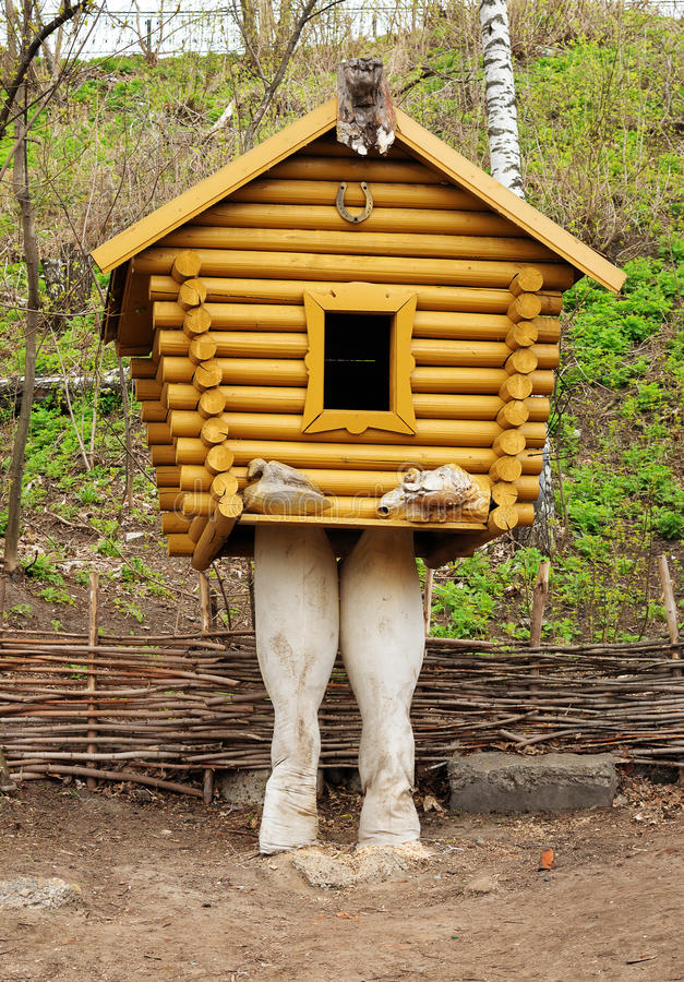 Small wooden hut on chicken legs stock images