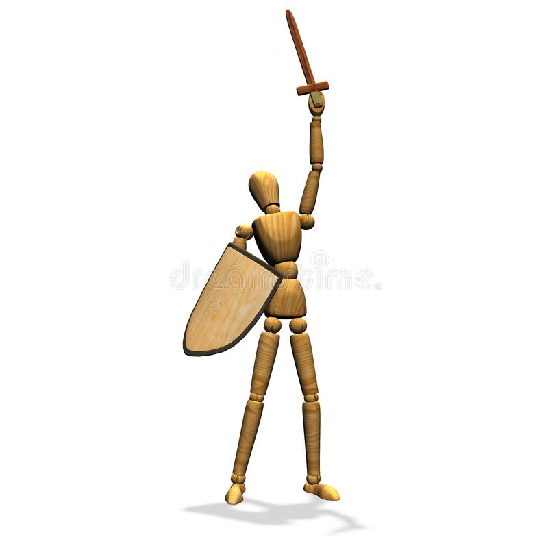 small wooden manniquin with sword and shield stock