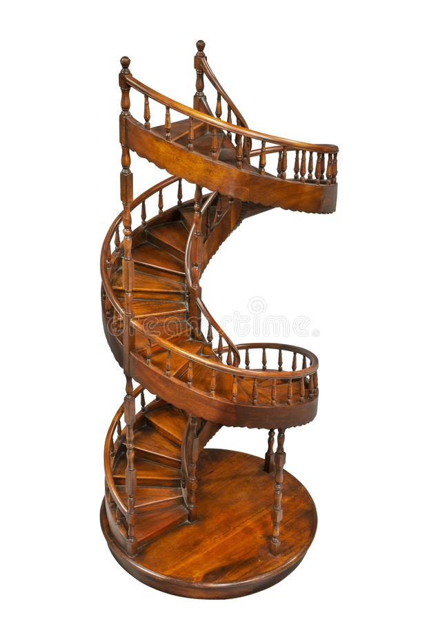 Small wooden circular staircase model. Circular staircase carpenters model made in wood to scale stock photos