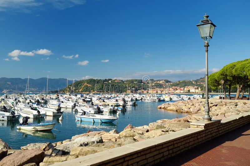 Small yachts and fishing boats in marina of Lerici town, a part of the Italian Riviera, Italy. Small yachts and fishing boats in marina of Lerici town, located royalty free stock photography