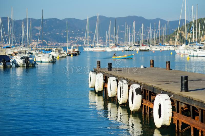 Small yachts and fishing boats in marina of Lerici town, a part of the Italian Riviera, Italy. Small yachts and fishing boats in marina of Lerici town, located stock photos