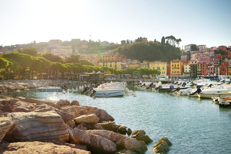 Small yachts and fishing boats in marina of Lerici town, a part of the Italian Riviera, Italy. Small yachts and fishing boats in marina of Lerici town, located royalty free stock photos