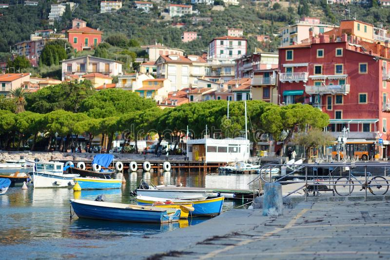 Small yachts and fishing boats in marina of Lerici town, a part of the Italian Riviera, Italy. Small yachts and fishing boats in marina of Lerici town, located stock images