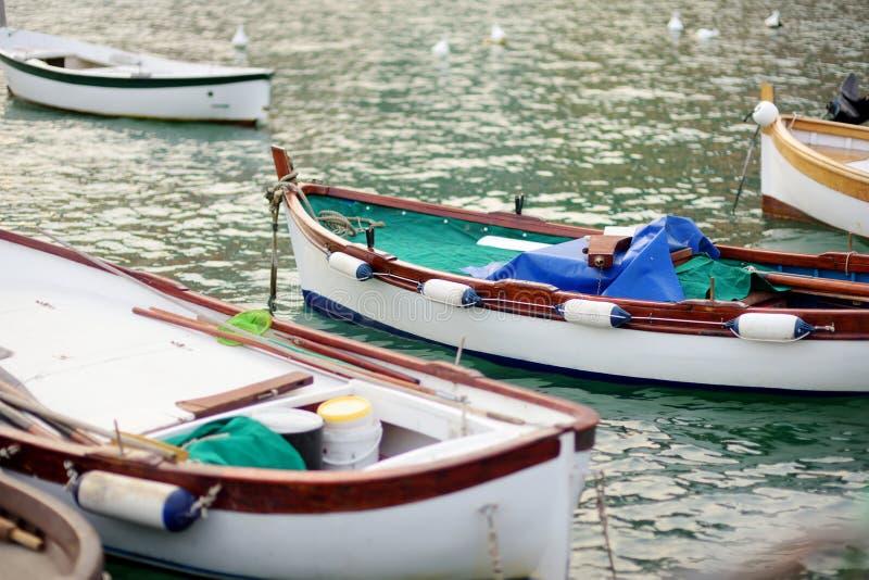 Small yachts and fishing boats in marina of Porto Venere town, a part of the Italian Riviera, Italy. Small yachts and fishing boats in marina of Porto Venere stock photo