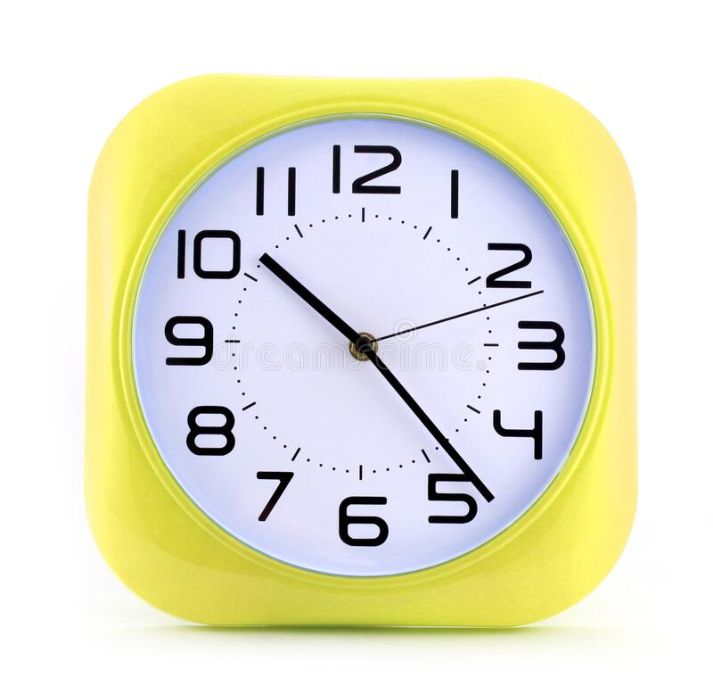 Free Small Yellow Alarm Clock Isolated On White Background 12 Hours Running Stock Photos - 171606193