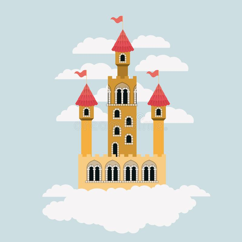 Small yellow castle of fairy tales in sky surrounded by clouds in colorful silhouette. Vector illustration vector illustration