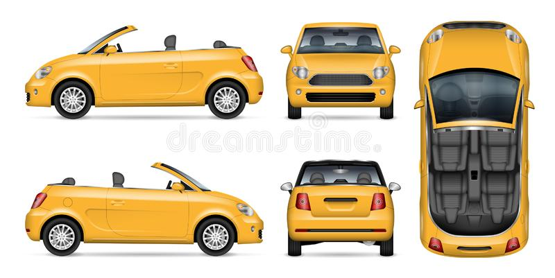 Small yellow convertible car vector mockup. Yellow car vector mockup for vehicle branding, advertising, corporate identity. Isolated template of realistic stock illustration