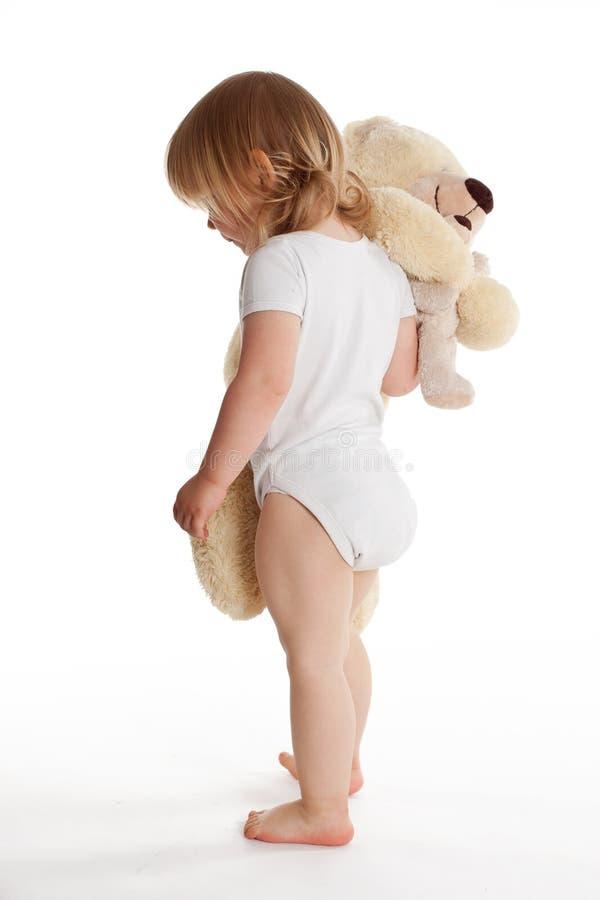 Download Small Young Girl Hugging Teddybear Stock Photo - Image: 9619010