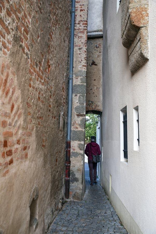 Smalle straat in Bourgondië, Frankrijk stock foto's