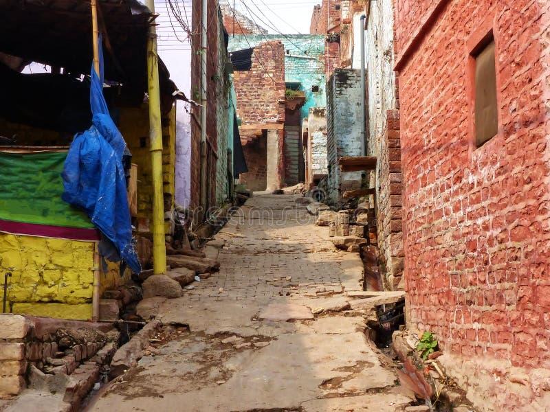 Smalle straat in Fatehpur Sikri, Uttar Pradesh, India stock foto