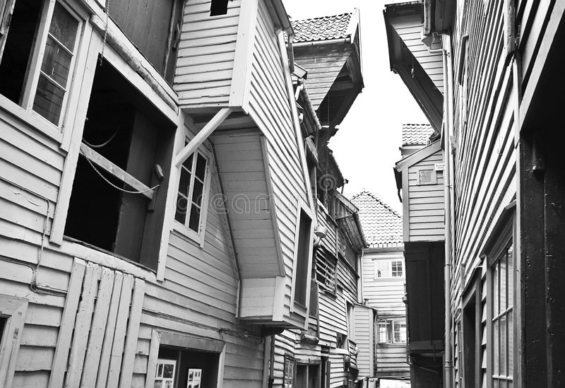 Smalle straat van Bergen stock fotografie