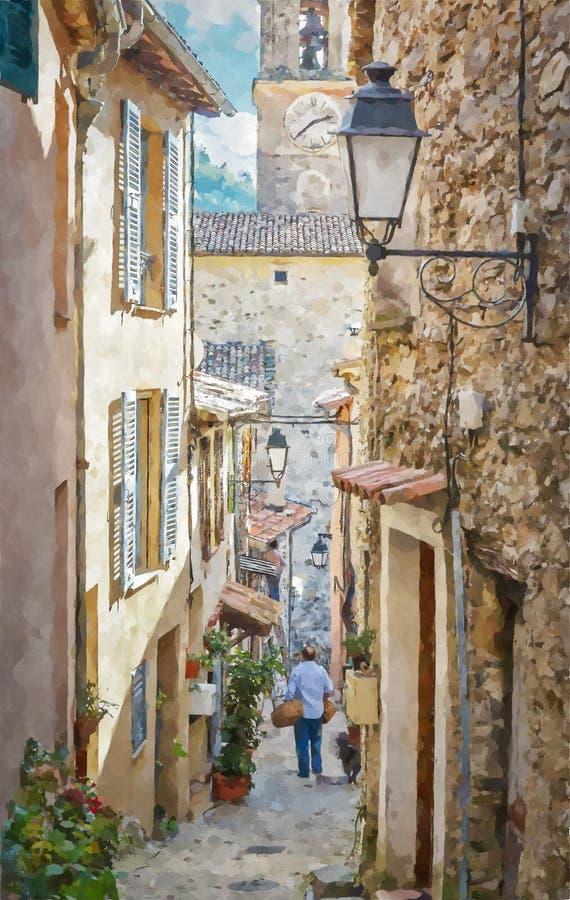 Smalle straten in het oude dorp Lyuseram, Frankrijk Digitale illustratie in waterverf het schilderen stijl royalty-vrije illustratie