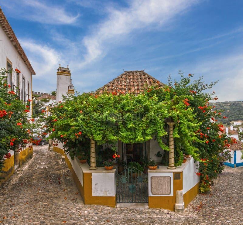 Smalle straten van oude stad Obidos, Portugal royalty-vrije stock foto's