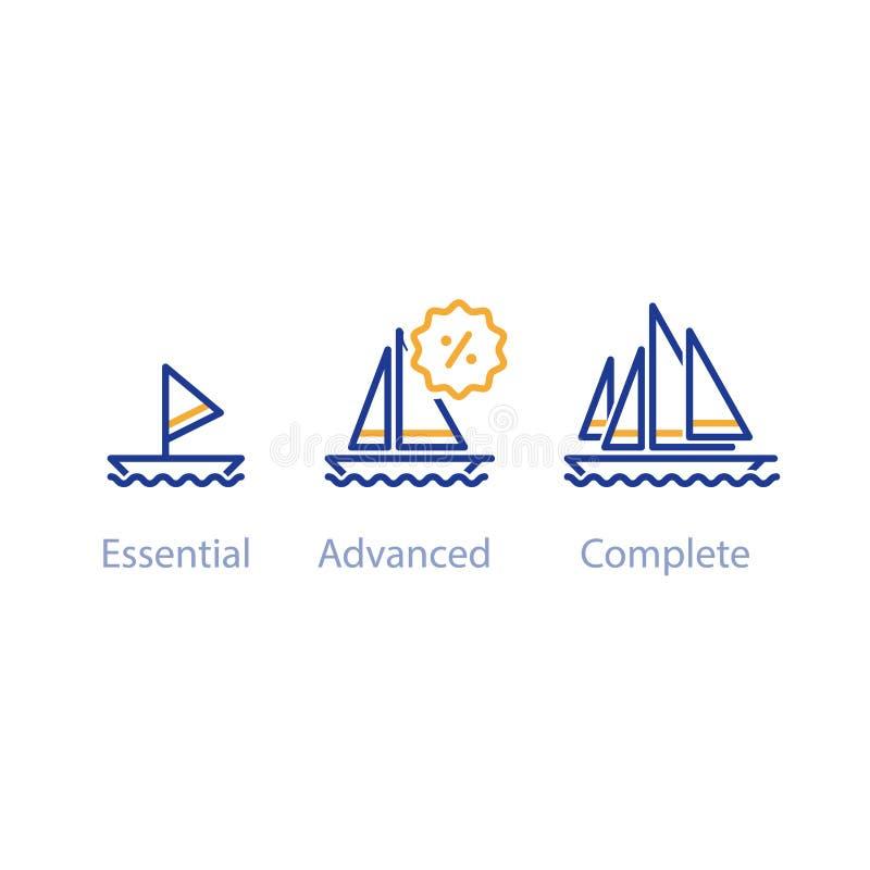 Smaller, bigger boats comparison, upgrade concept with ships, best option vector illustration