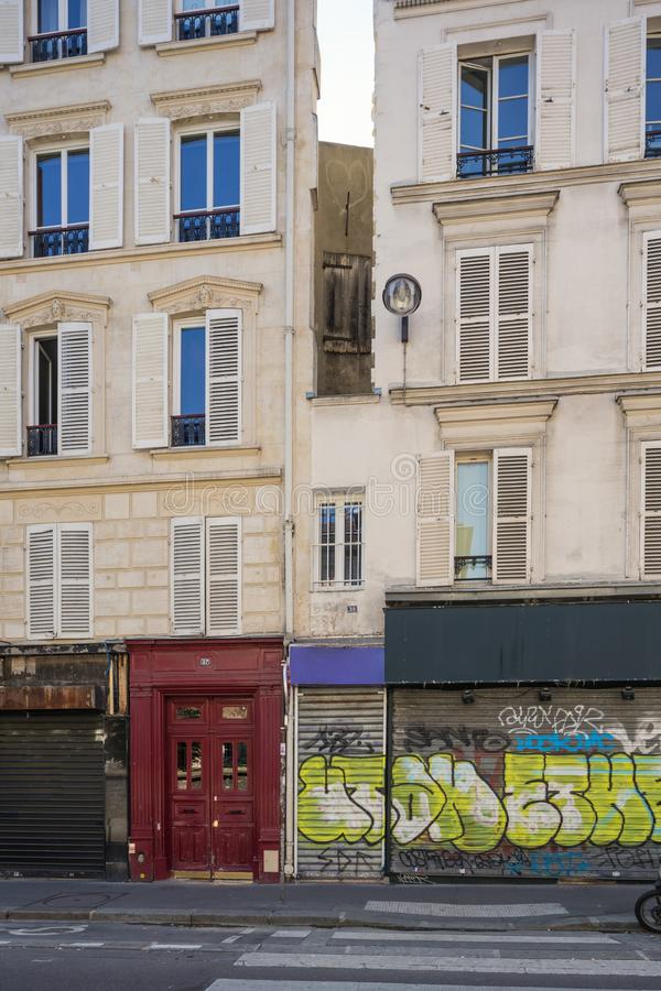 The smallest house of Paris stock photography