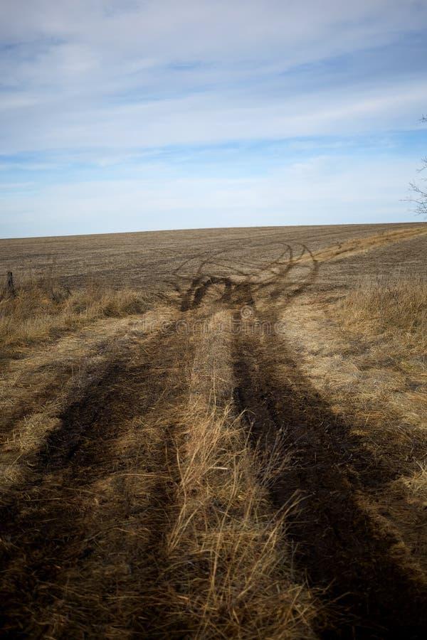 Smalt lantgårdspår till och med torr grässlätt arkivbild