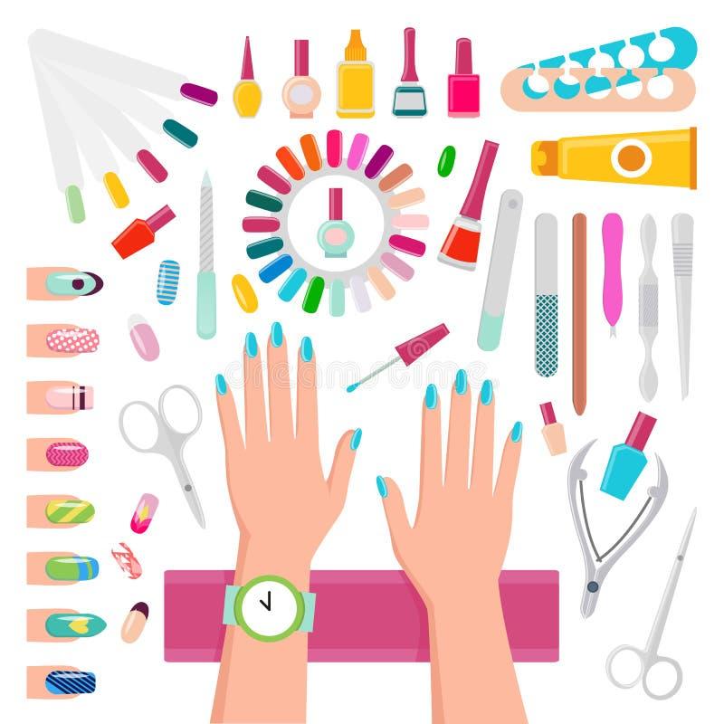 Smalti e strumenti per l'insieme di manicure illustrazione vettoriale