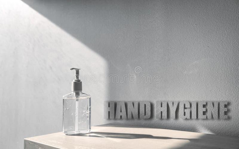 Smaltimento a mano dei materiali per la prevenzione del virus della corona con l'igiene delle mani - misure adeguate per mantener fotografia stock libera da diritti