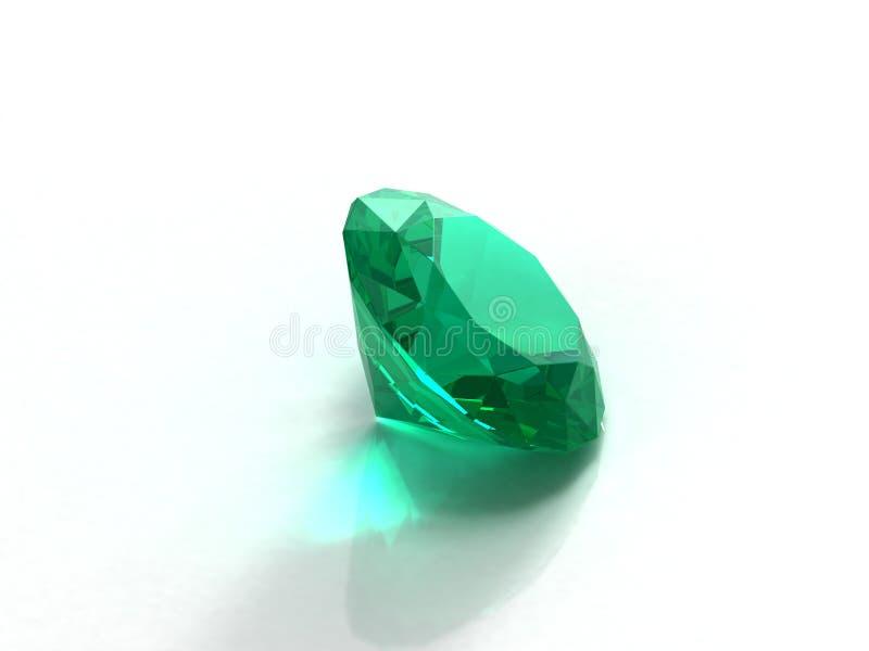 Smaragd auf weißem Hintergrund. lizenzfreie abbildung