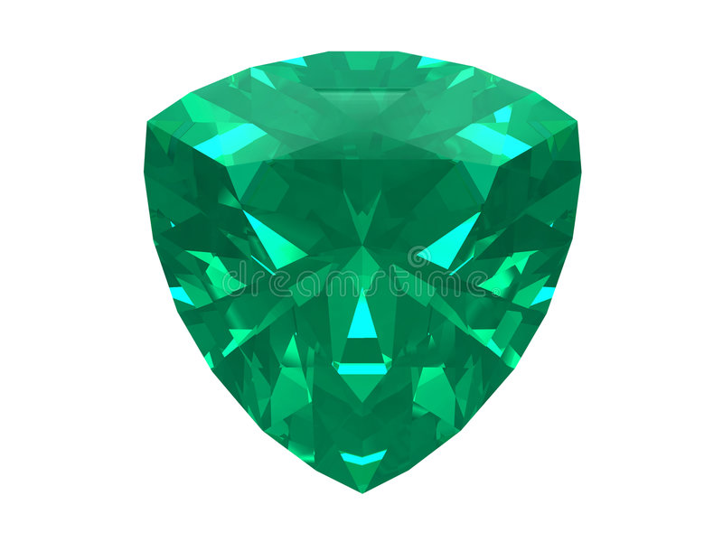 Smaragd getrennt auf weißem Hintergrund stock abbildung