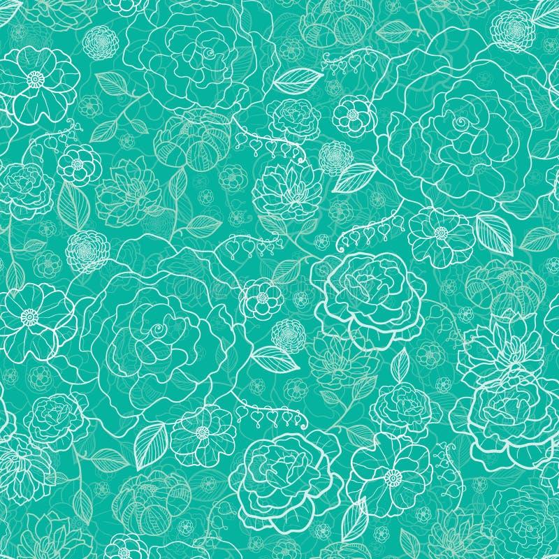 Smaragd- Grün Blumen-lineart nahtloses Muster vektor abbildung