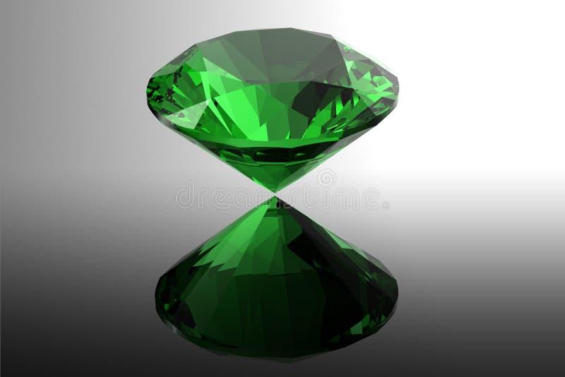 Smaragd. Schmuckedelsteine roung Form auf schwarzem Hintergrund lizenzfreie abbildung