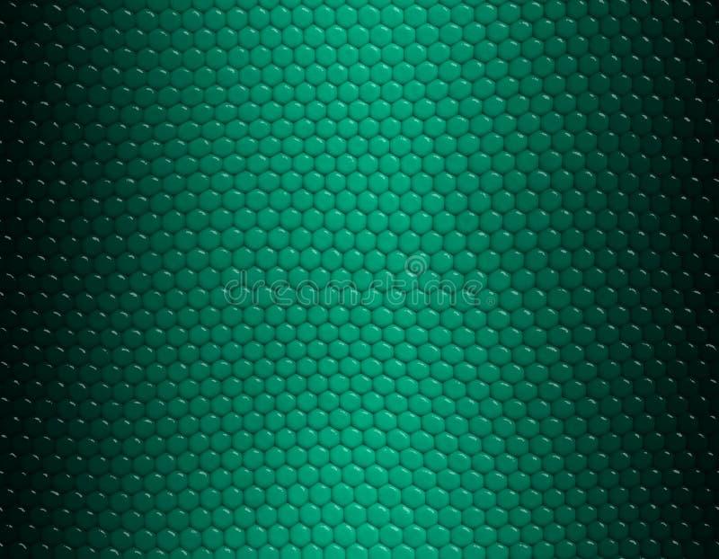 Smaragd- und grünes Steigungsschlangenhautmuster, sechseckige Skala lizenzfreie abbildung