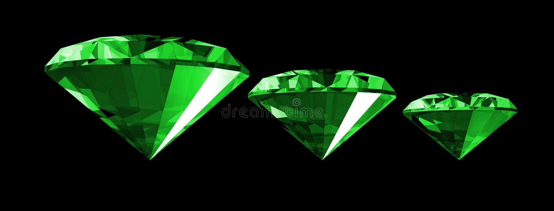 Smaragdedelstein 3d getrennt lizenzfreie abbildung