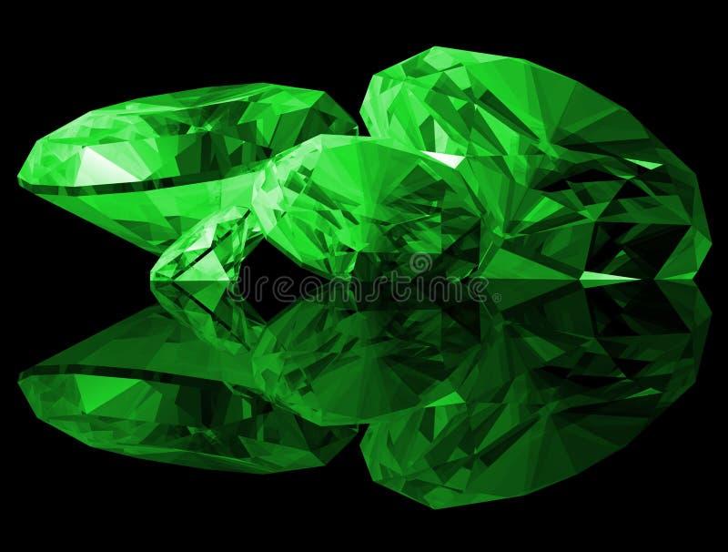 Smaragdedelsteine 3d getrennt lizenzfreie abbildung