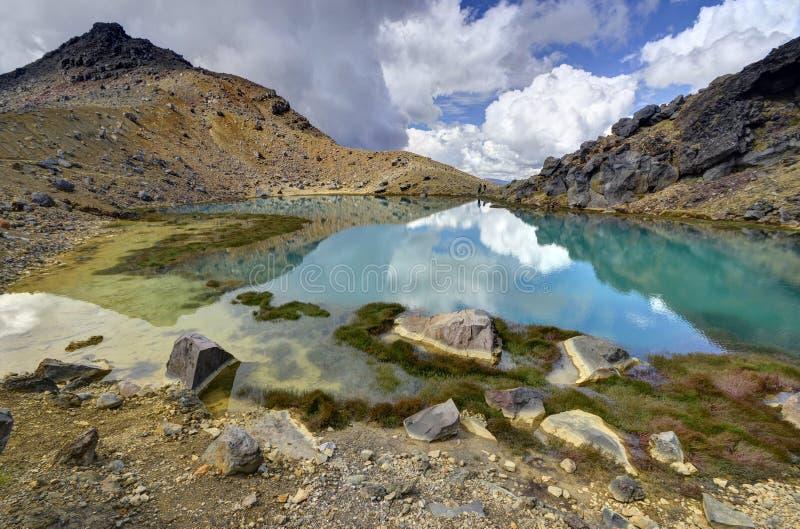 Smaragdgroen meerlandschap, het Nationale Park van Tongariro stock fotografie