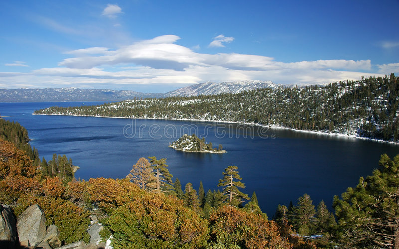 Smaragdgroene baai, Meer Tahoe, Californië stock foto's